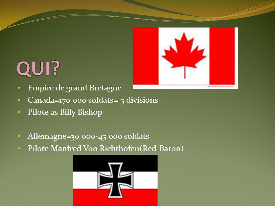 QUI Empire de grand Bretagne Canada=170 000 soldats= 5 divisions