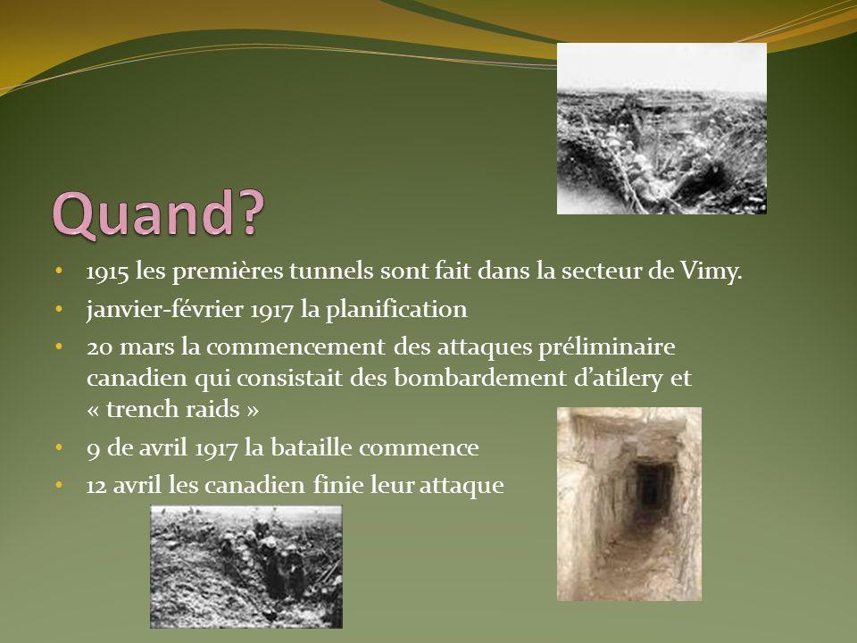 Quand 1915 les premières tunnels sont fait dans la secteur de Vimy.