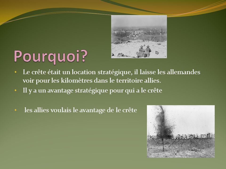Pourquoi Le crête était un location stratégique, il laisse les allemandes voir pour les kilomètres dans le territoire allies.