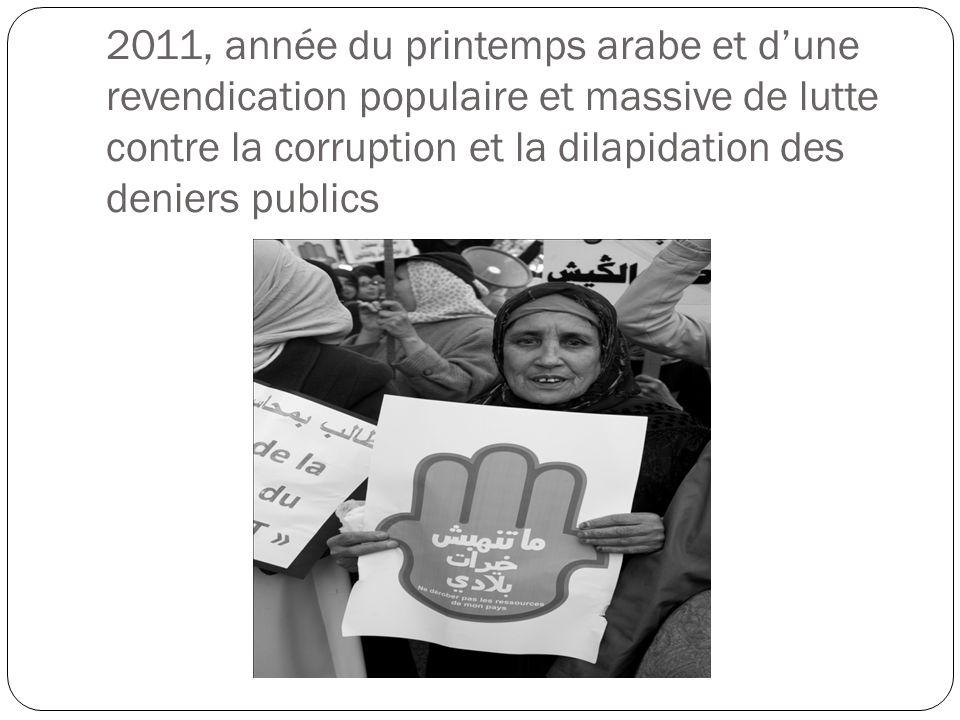 2011, année du printemps arabe et d'une revendication populaire et massive de lutte contre la corruption et la dilapidation des deniers publics