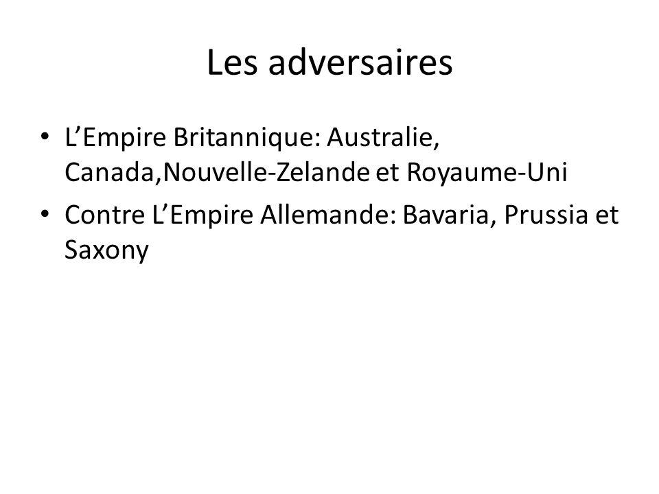 Les adversaires L'Empire Britannique: Australie, Canada,Nouvelle-Zelande et Royaume-Uni.