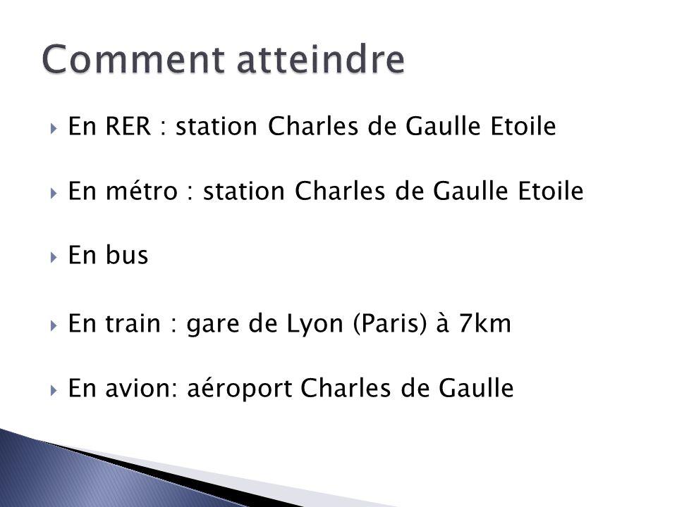 Comment atteindre En RER : station Charles de Gaulle Etoile