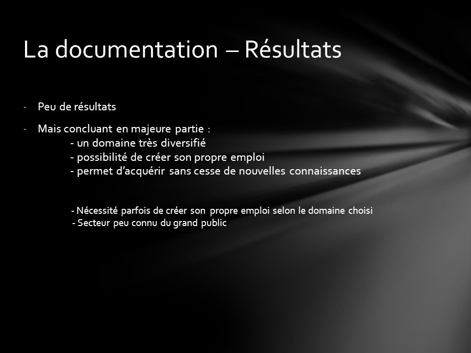 La documentation – Résultats