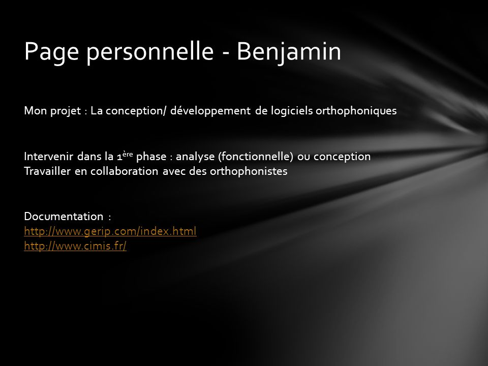 Page personnelle - Benjamin