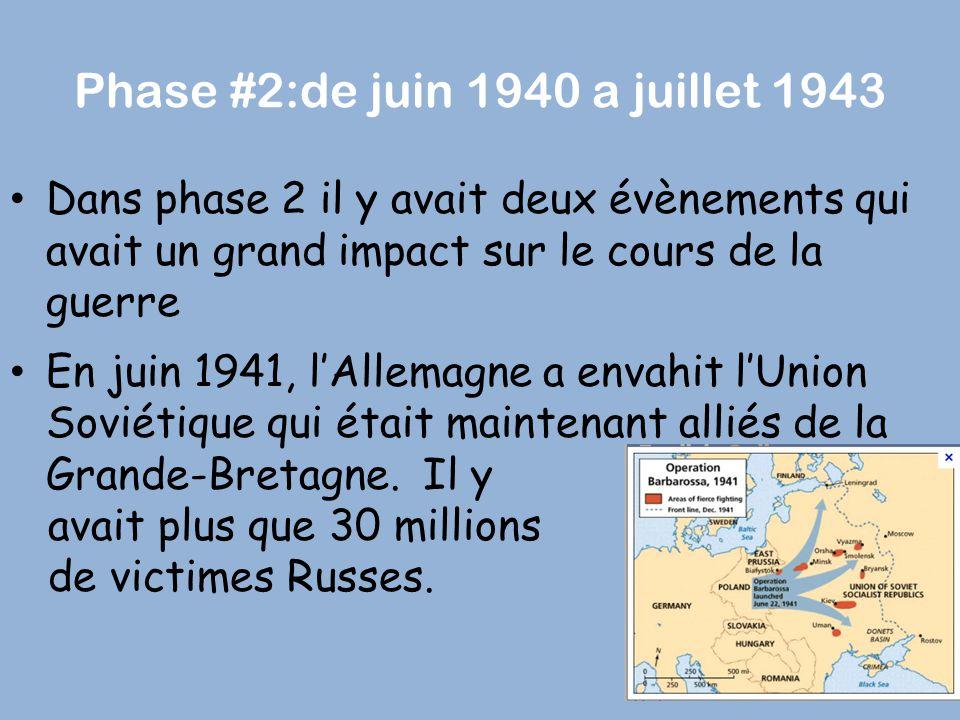 Phase #2:de juin 1940 a juillet 1943
