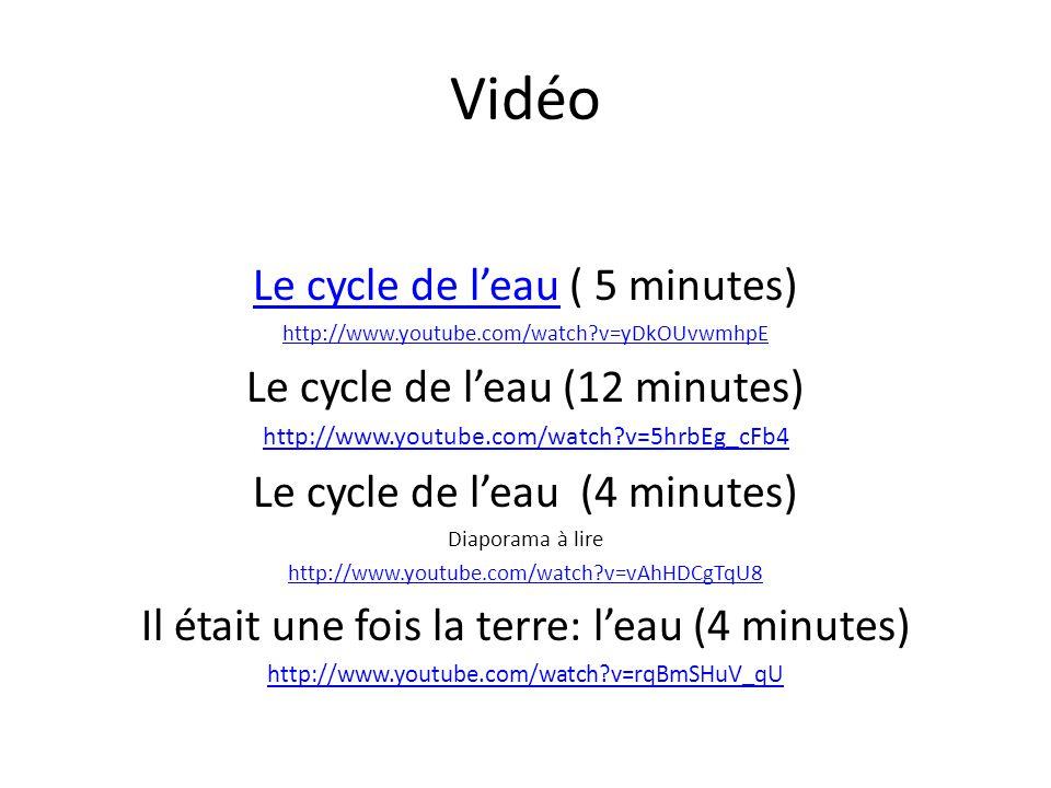 Vidéo Le cycle de l'eau ( 5 minutes) Le cycle de l'eau (12 minutes)