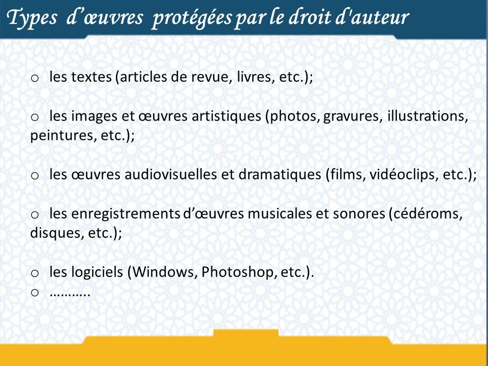 Types d'œuvres protégées par le droit d auteur