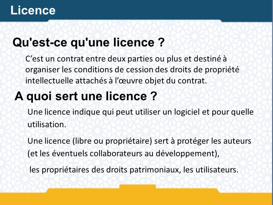 Qu est-ce qu une licence