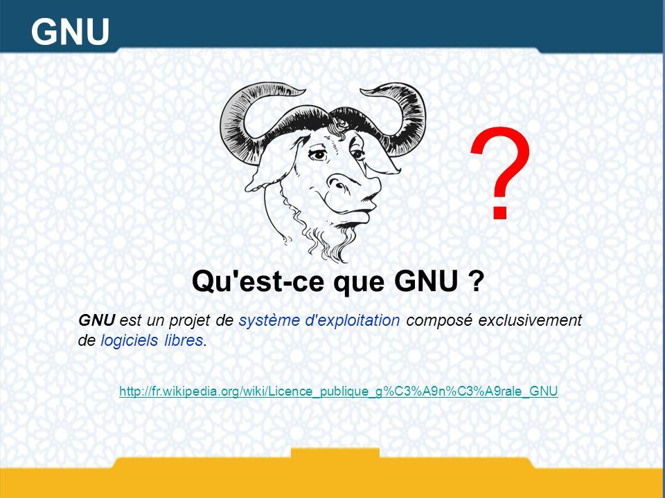 GNU Qu est-ce que GNU GNU est un projet de système d exploitation composé exclusivement de logiciels libres.