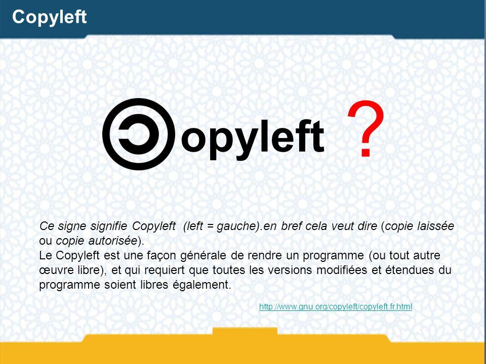 Copyleft opyleft. Ce signe signifie Copyleft (left = gauche).en bref cela veut dire (copie laissée ou copie autorisée).