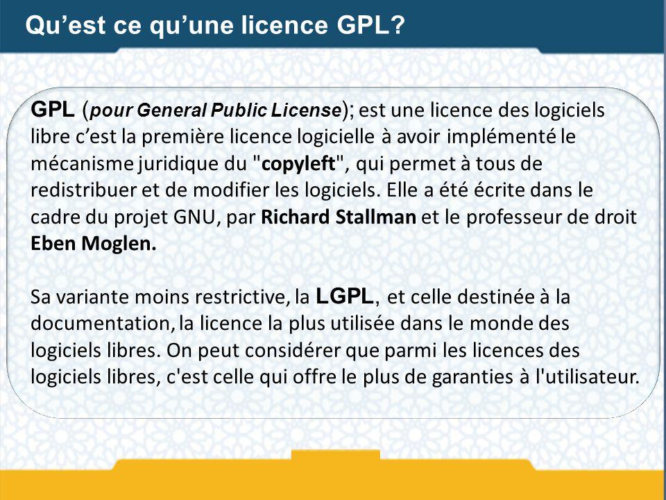 Qu'est ce qu'une licence GPL
