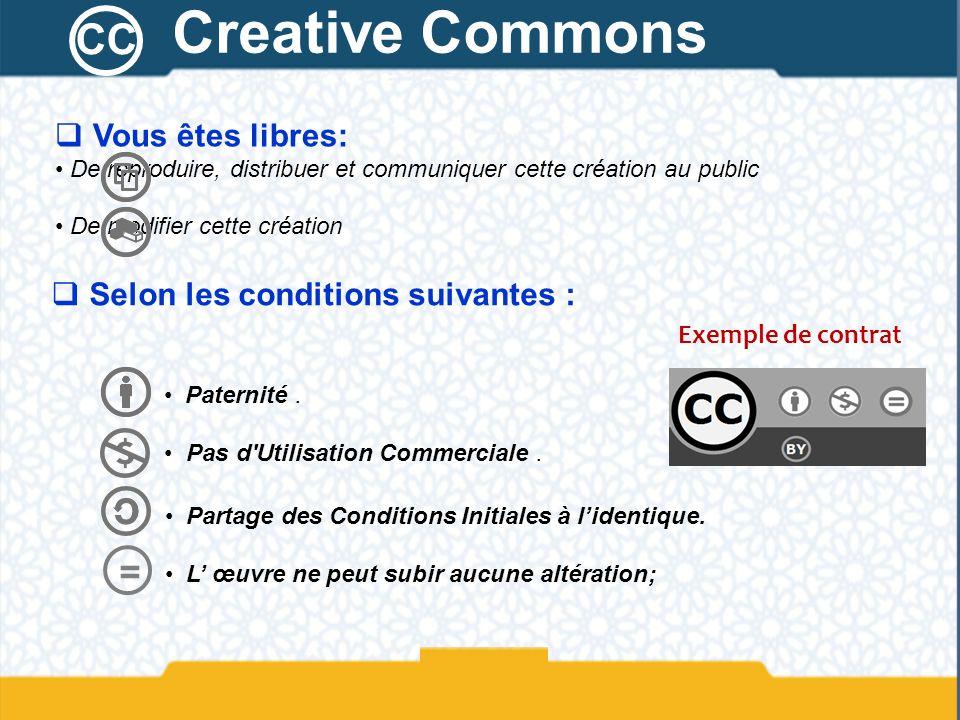 Creative Commons CC = Vous êtes libres: