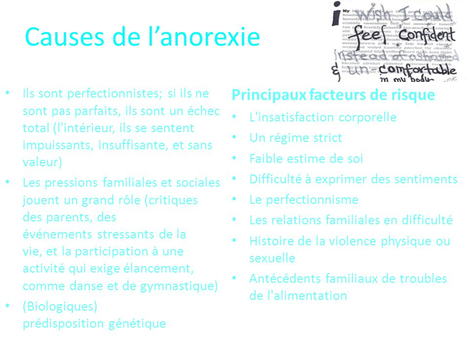 Causes de l'anorexie Principaux facteurs de risque