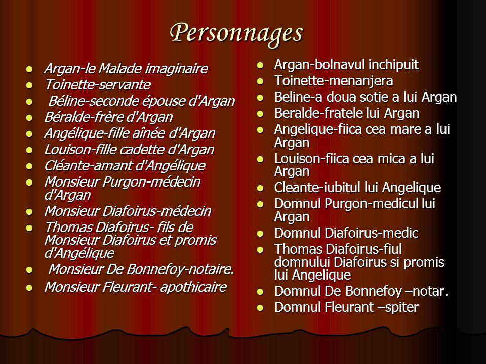Personnages Argan-bolnavul inchipuit Argan-le Malade imaginaire
