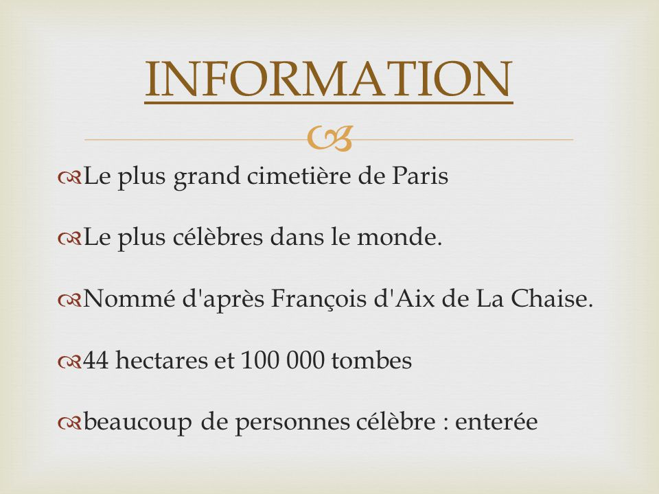 INFORMATION Le plus grand cimetière de Paris