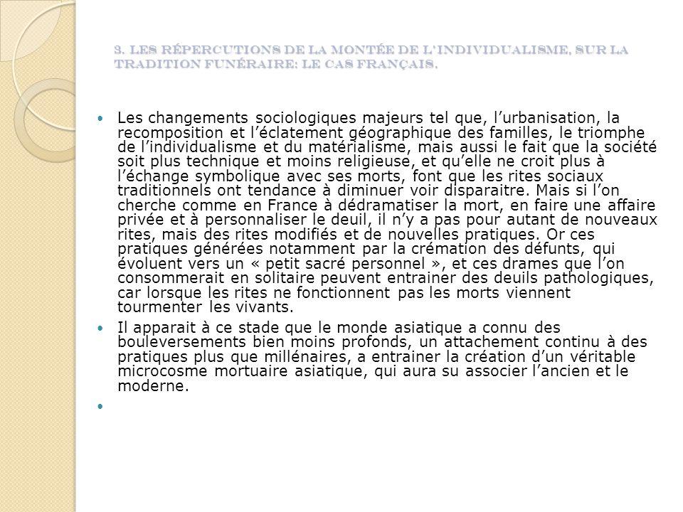3. Les répercutions de la montée de l'individualisme, sur la tradition funéraire: le cas français.