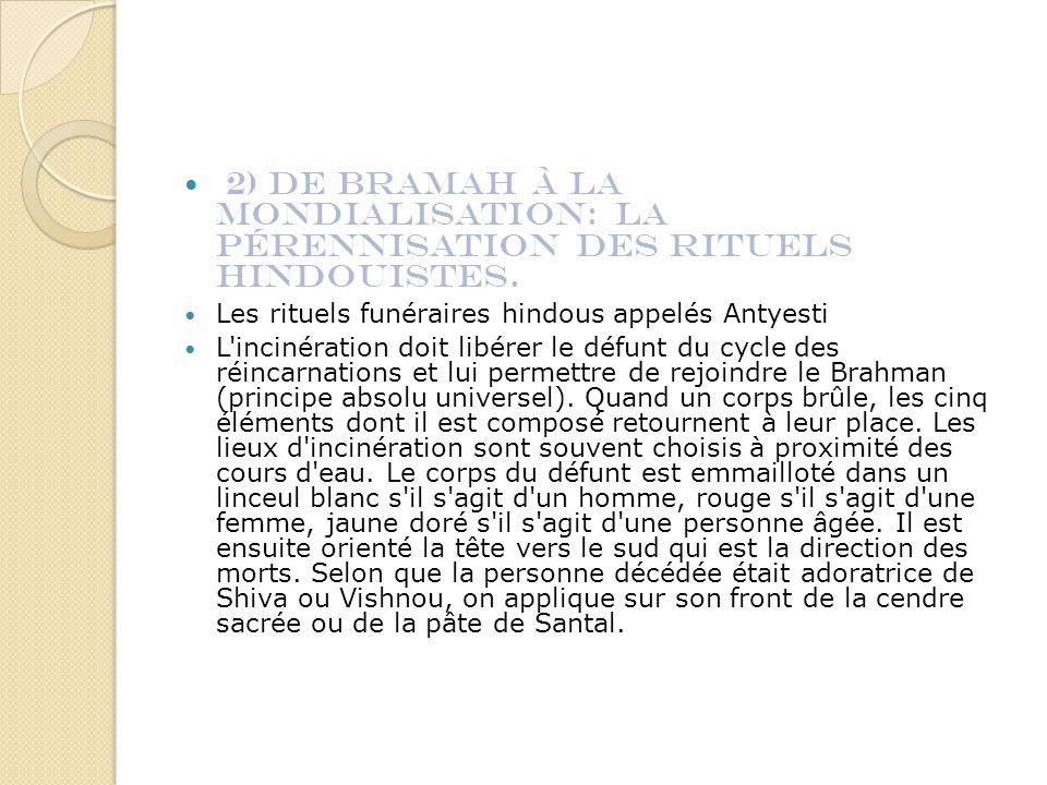 2) De Bramah à la Mondialisation: la pérennisation des rituels Hindouistes.