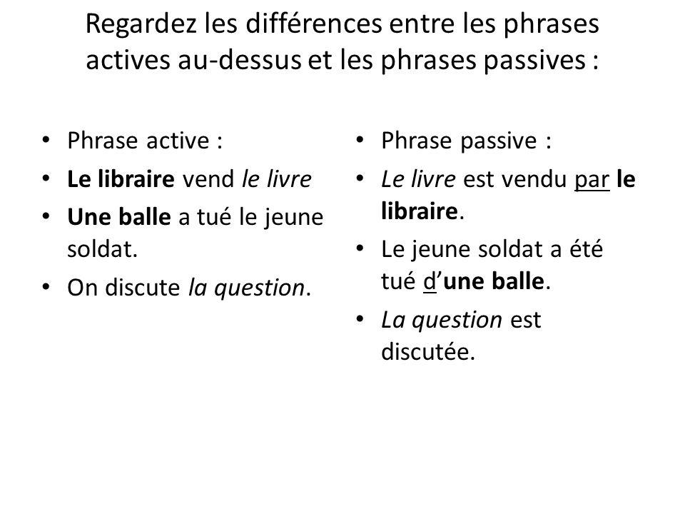 Regardez les différences entre les phrases actives au-dessus et les phrases passives :