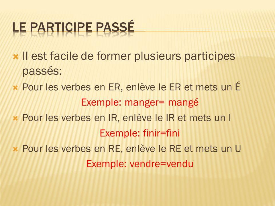 Le participe passé Il est facile de former plusieurs participes passés: Pour les verbes en ER, enlève le ER et mets un É.