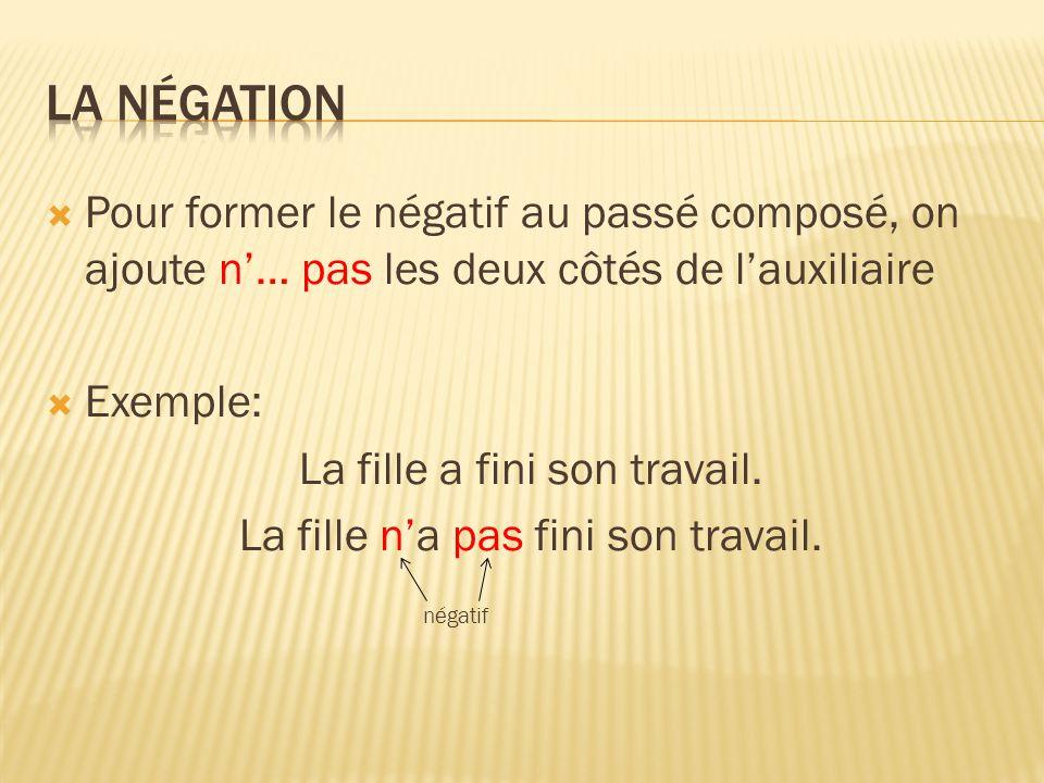 La négation Pour former le négatif au passé composé, on ajoute n'… pas les deux côtés de l'auxiliaire.