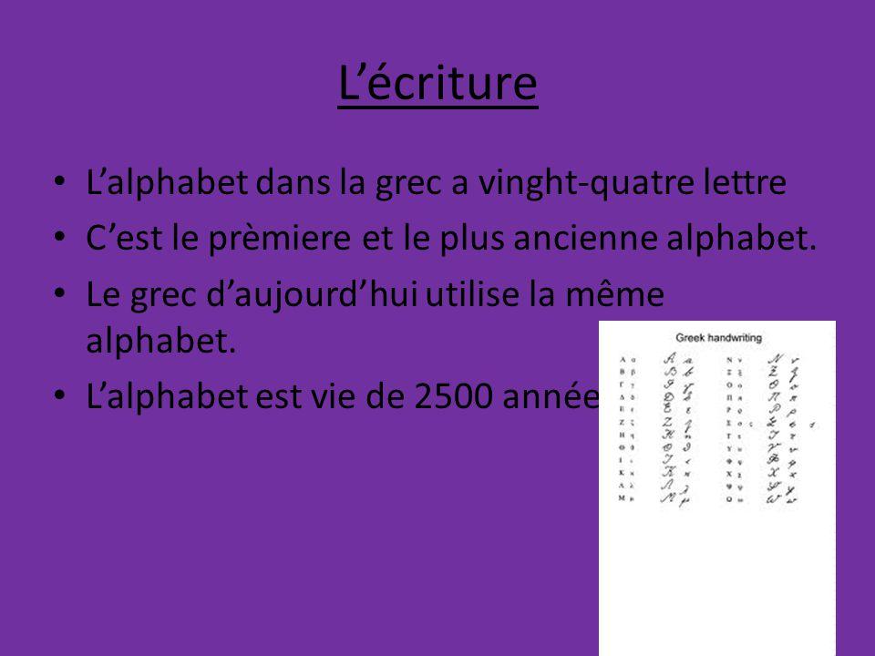 L'écriture L'alphabet dans la grec a vinght-quatre lettre