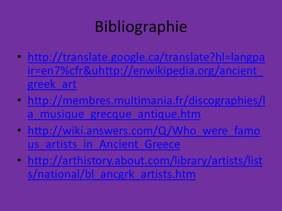 Bibliographie http://translate.google.ca/translate hl=langpair=en7%cfr&uhttp://enwikipedia.org/ancient_greek_art.