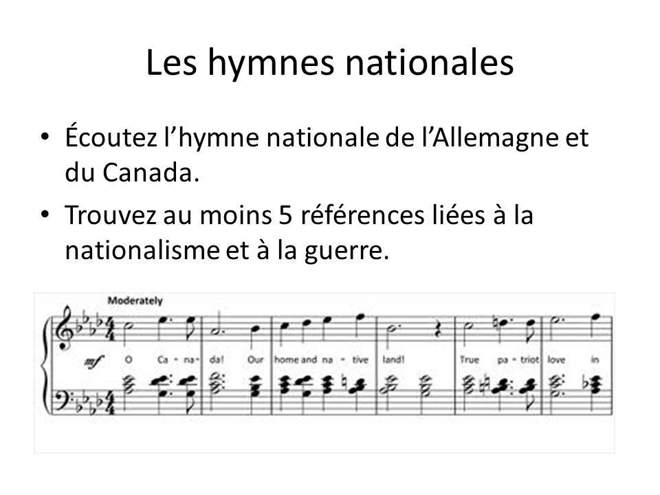 Les hymnes nationales Écoutez l'hymne nationale de l'Allemagne et du Canada.