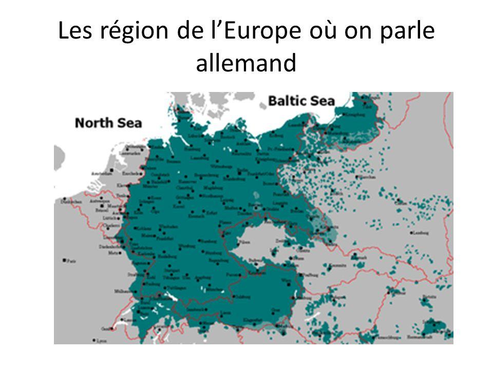 Les région de l'Europe où on parle allemand