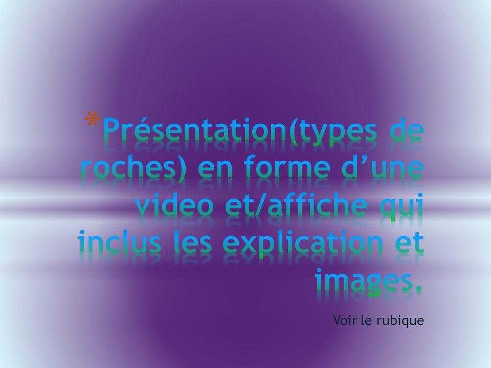 Présentation(types de roches) en forme d'une video et/affiche qui inclus les explication et images.