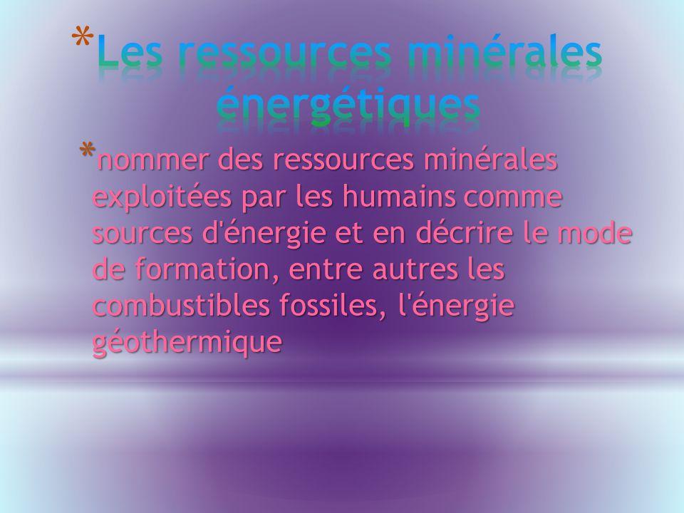 Les ressources minérales énergétiques