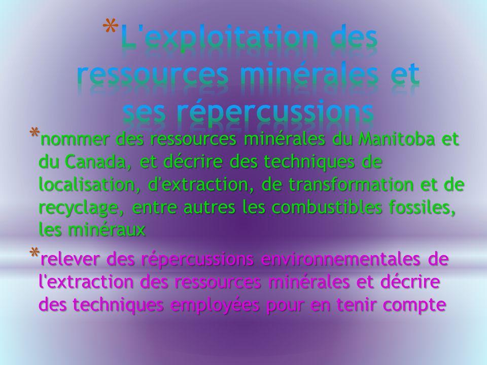 L exploitation des ressources minérales et ses répercussions