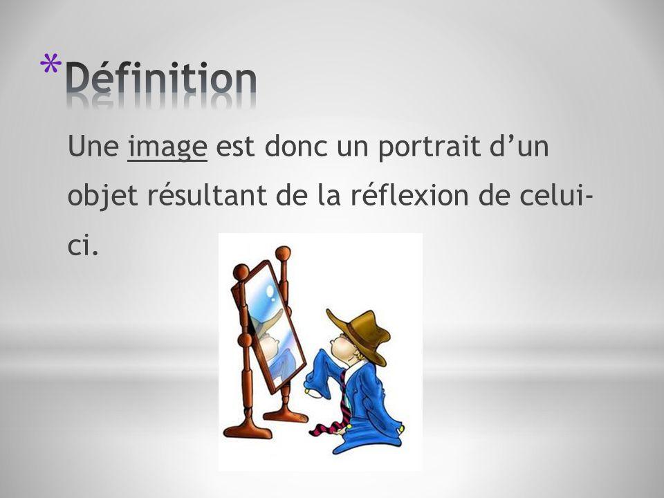 Définition Une image est donc un portrait d'un objet résultant de la réflexion de celui- ci.