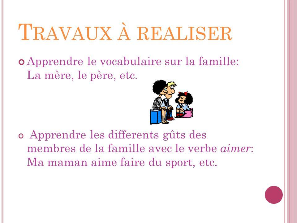 Travaux à realiser Apprendre le vocabulaire sur la famille: La mère, le père, etc.