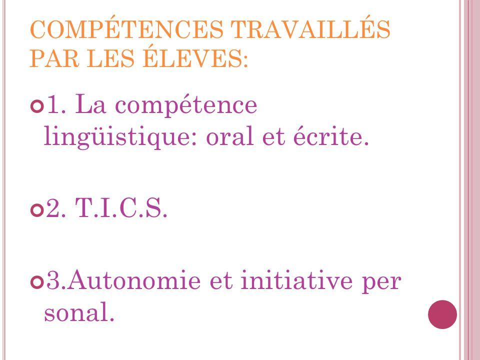 COMPÉTENCES TRAVAILLÉS PAR LES ÉLEVES: