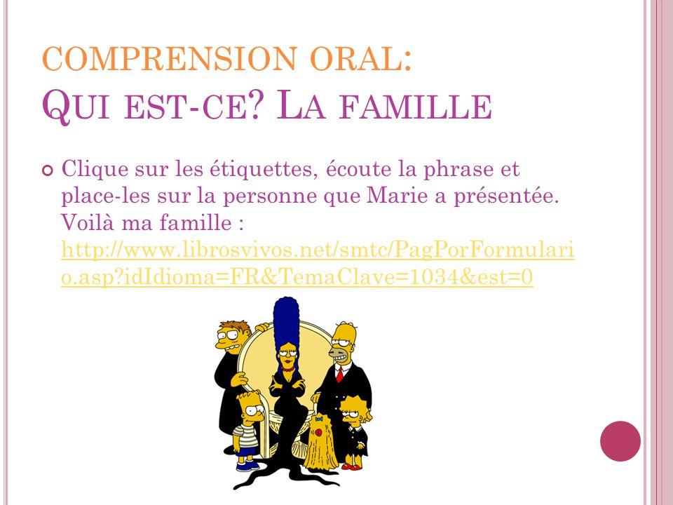 comprension oral: Qui est-ce La famille