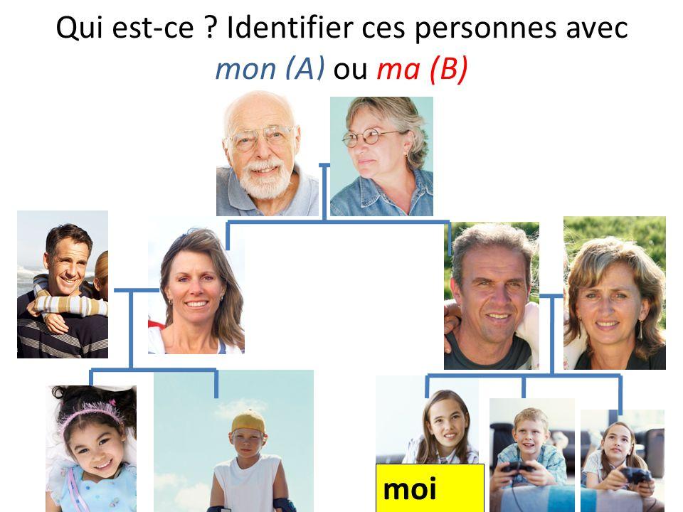 Qui est-ce Identifier ces personnes avec mon (A) ou ma (B)