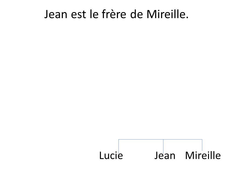 Jean est le frère de Mireille.