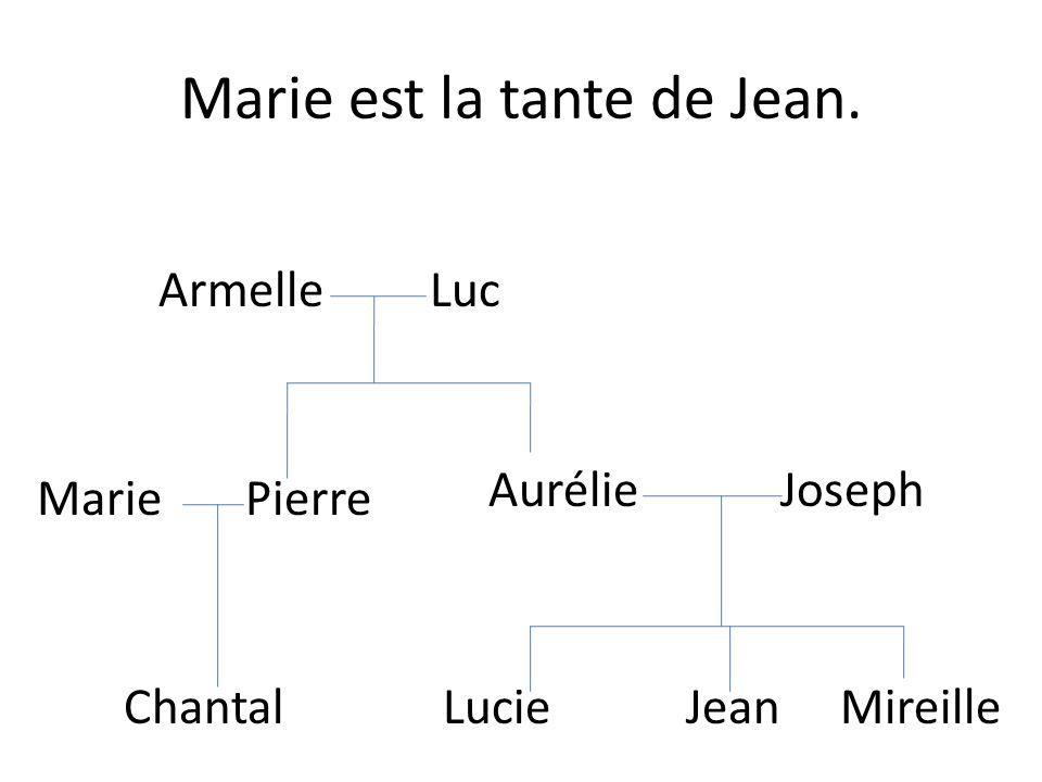 Marie est la tante de Jean.