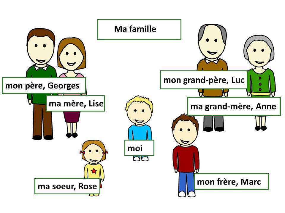 Ma famille mon grand-père, Luc. mon père, Georges. ma mère, Lise. ma grand-mère, Anne. moi. mon frère, Marc.