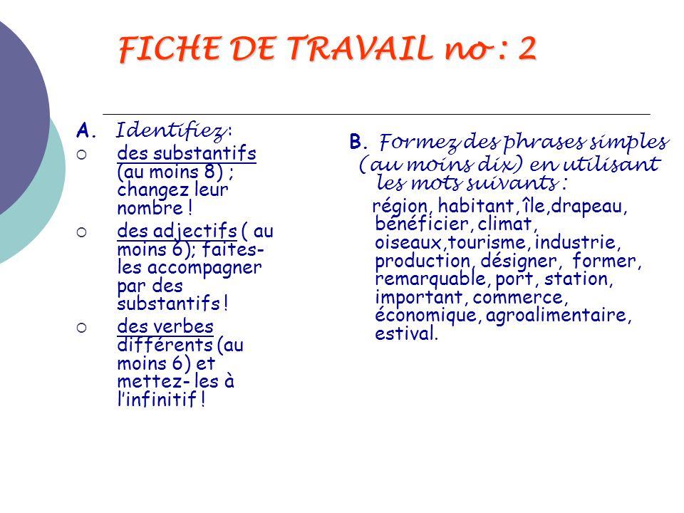 FICHE DE TRAVAIL no : 2 A. Identifiez :