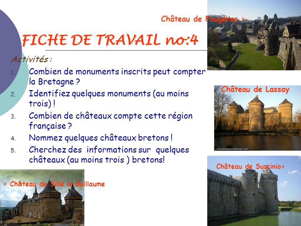 FICHE DE TRAVAIL no:4 Activités :