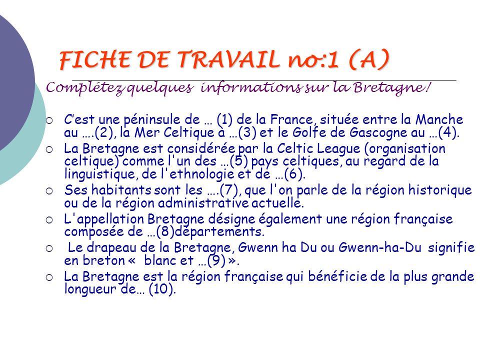 FICHE DE TRAVAIL no:1 (A)