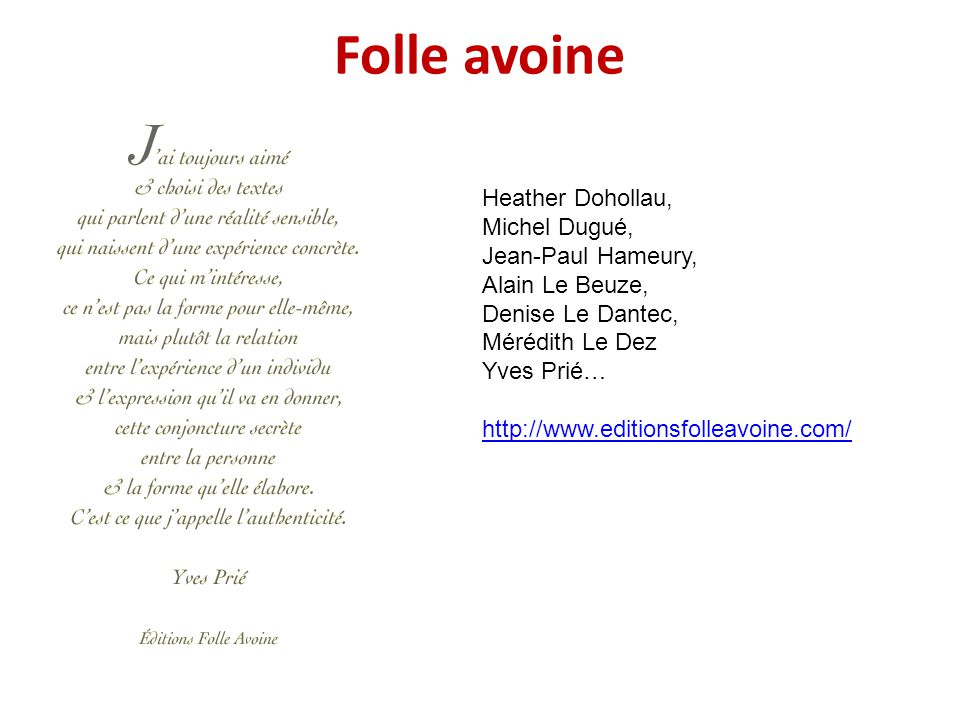 Folle avoine Heather Dohollau, Michel Dugué, Jean-Paul Hameury,
