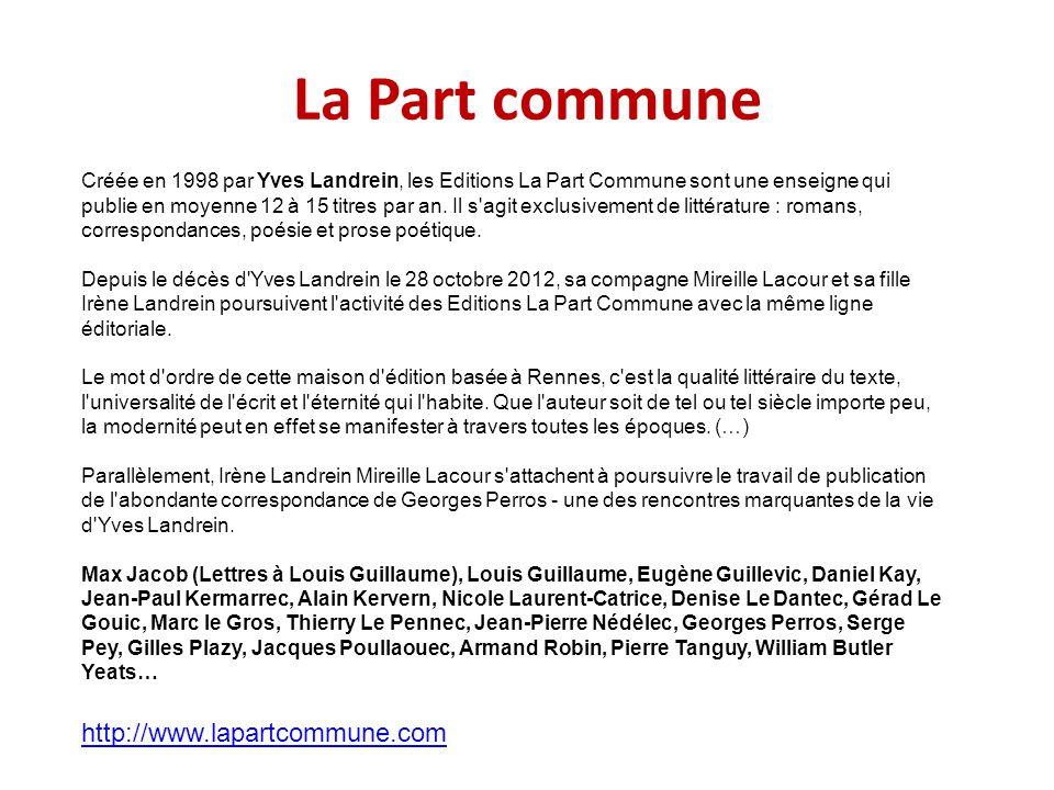 La Part commune http://www.lapartcommune.com