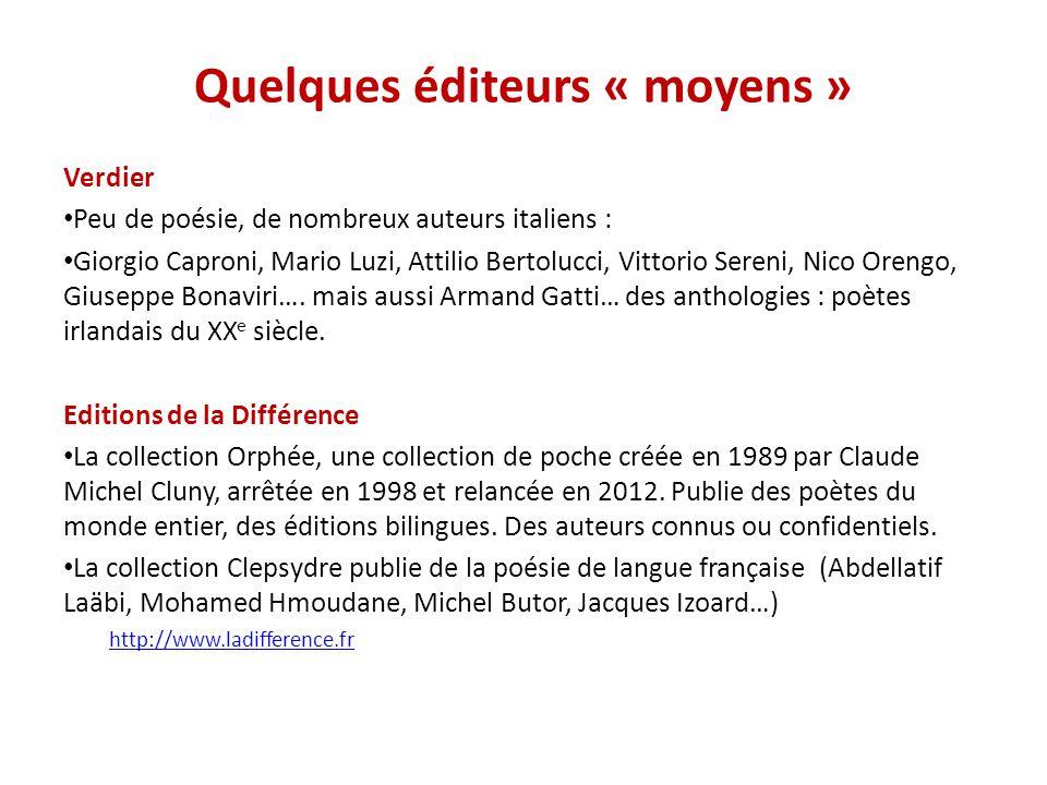 Quelques éditeurs « moyens »