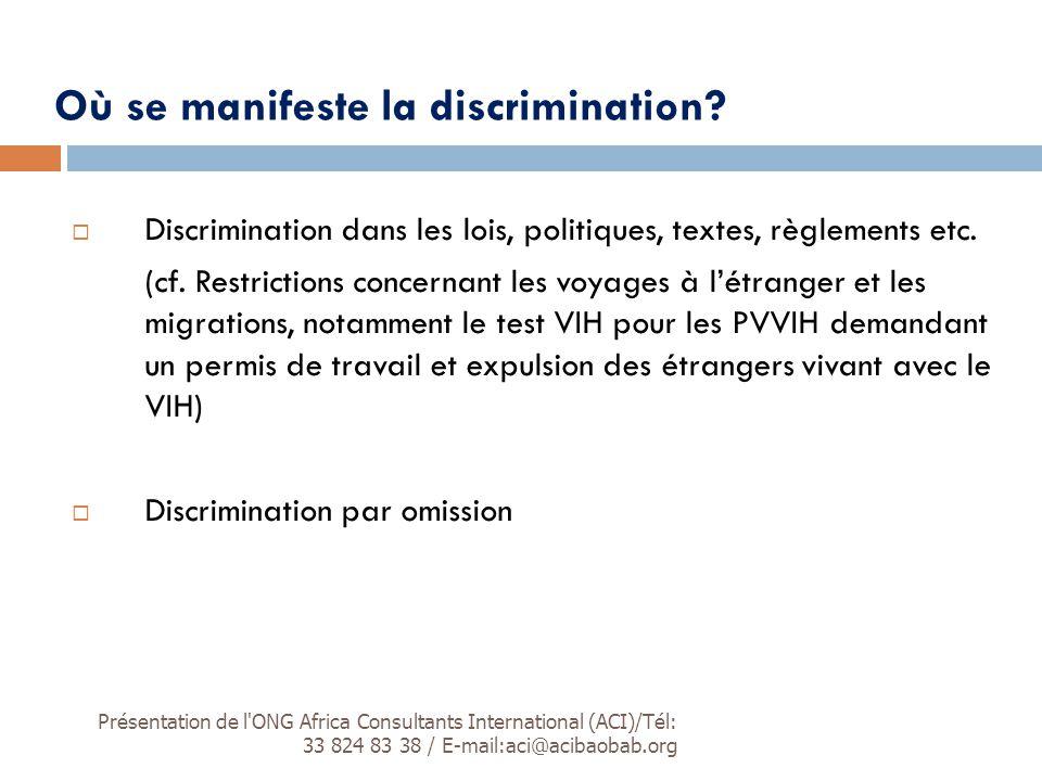 Où se manifeste la discrimination