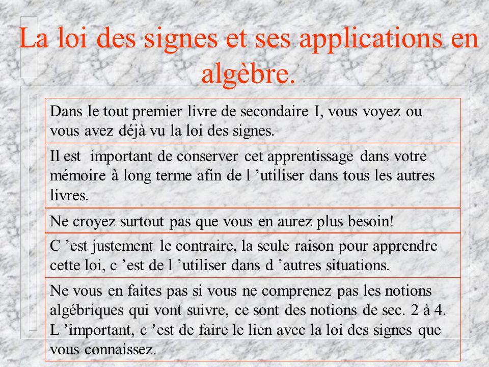 La loi des signes et ses applications en algèbre.