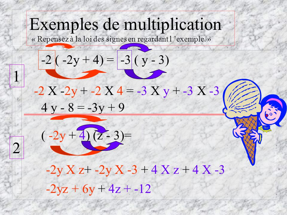Exemples de multiplication « Repensez à la loi des signes en regardant l 'exemple. »