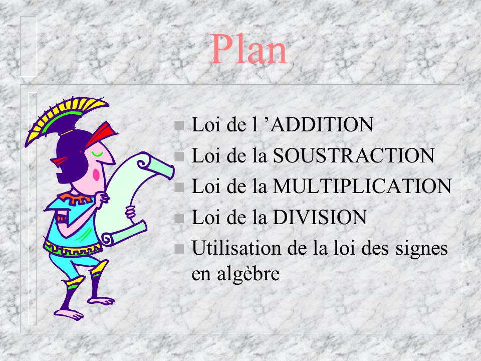 Plan Loi de l 'ADDITION Loi de la SOUSTRACTION