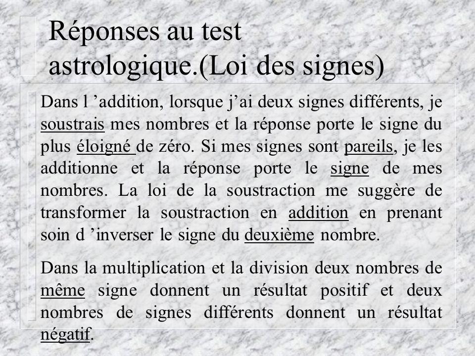 Réponses au test astrologique.(Loi des signes)